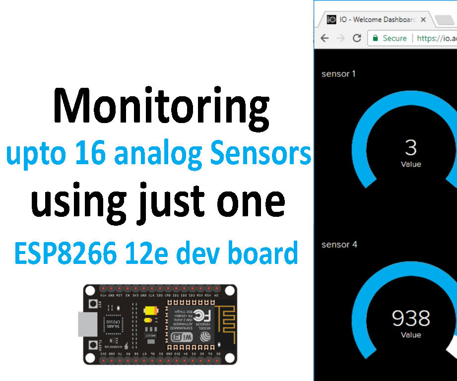 Monitoring 16 Analog Sensors Data Using ESP8266 12e Board