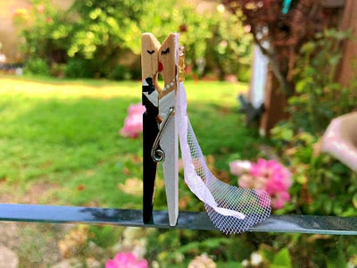 Bride and Groom Clothespin Favor