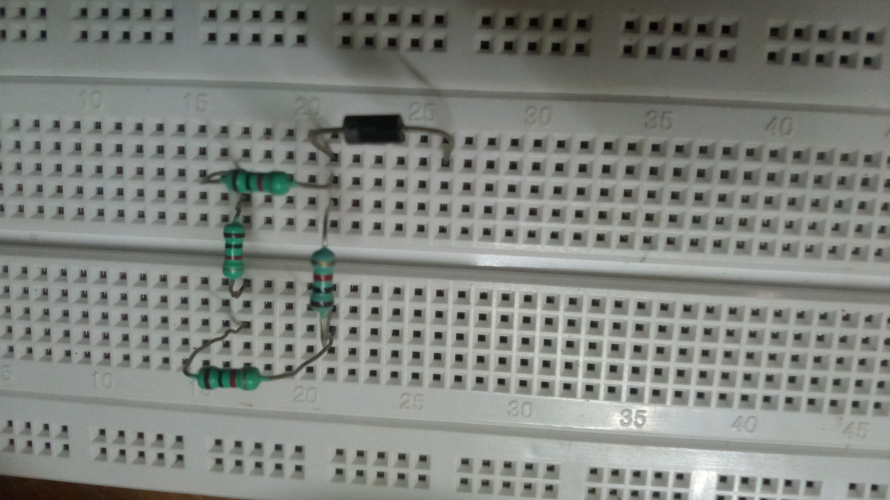 Placing Diode and Other 1K Ohm Resistors.