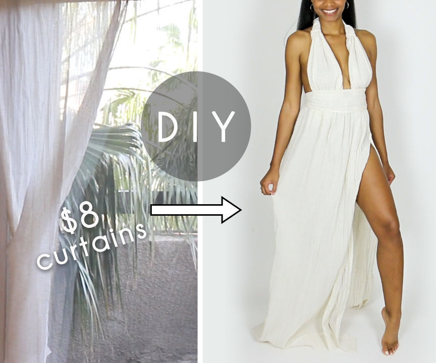 DIY Plunging Dress Out of Curtains