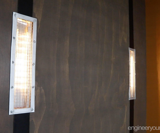 Industrial DIY Wall Sconces for a Murphy Bed
