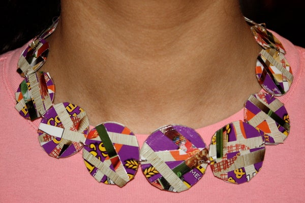 Reversible Cardboard Disc Necklace