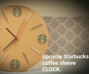 Starbucks Coffee Sleeves Upcycle Clock