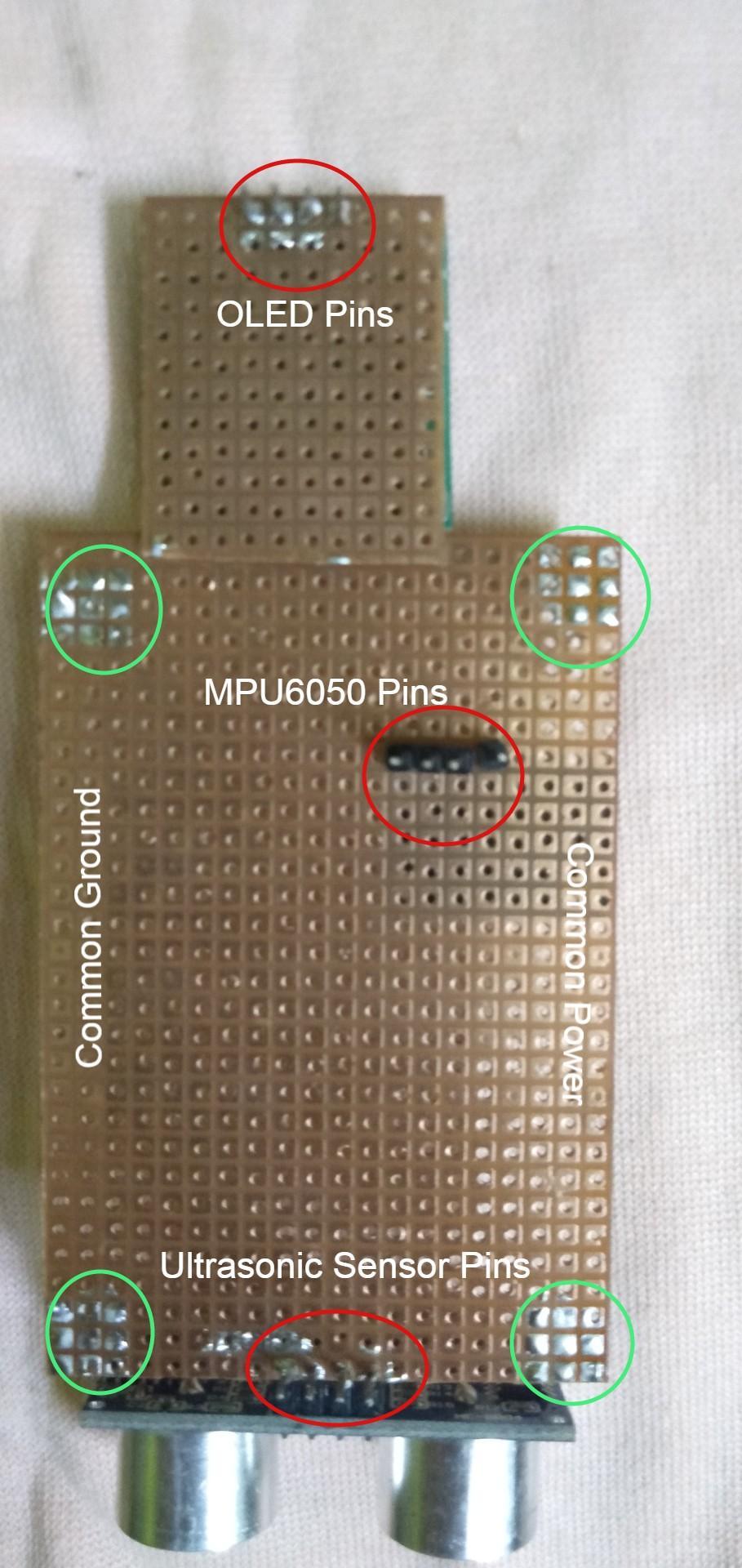 Hardware: PerfBoard Assembly (MPU6050, Ultrasonic Sensor and OLED Screen)