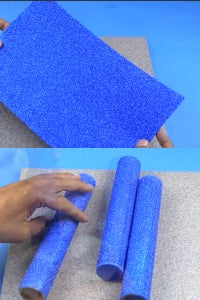 Let's Cover the Cylindrical Cardboards Using the Glitter Sheets!