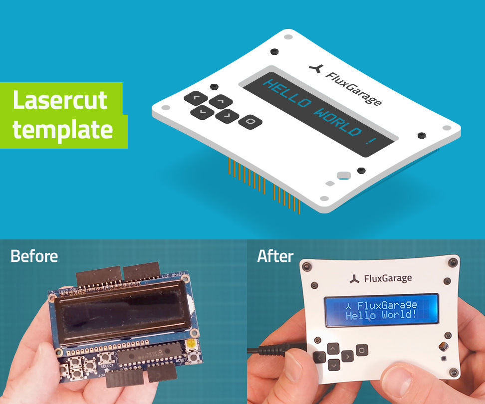 Front plate for 16x2 LCD + Keypad Shield