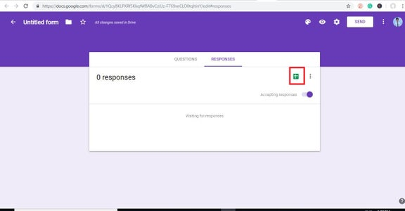 Now Go Back to Form and Click on RESPONSES and Then Click on the Google Sheet Icon As Shown in the Picture Below.