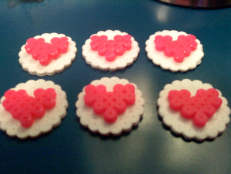 Hot Glue Hearts to Circles.