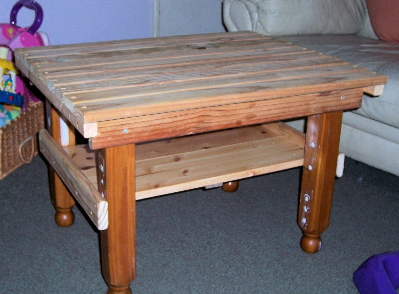 Salvaged Timber Table for a Corner Suite.