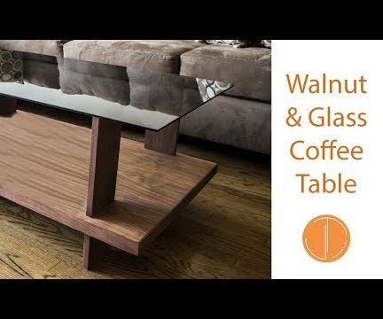 Walnut and Glass Coffee Table