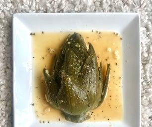 Garlic Miso Braised Artichokes
