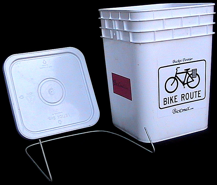 Bucket Panniers on a Wire for Bicycle Cargo Hauling on a Tight Budget