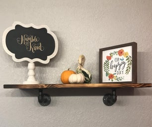 Rustic Farmhouse Style Torched Wood Shelf With Plumbing Fitting Shelf Brackets