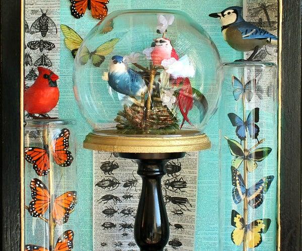 Birds and Butterflies Under Glass