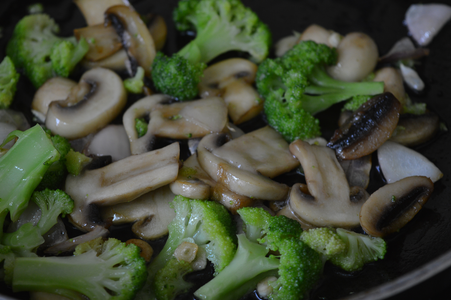Next Add in the Broccoli Slices and Saute for 2 Minutes, and Turn the Flame Off.
