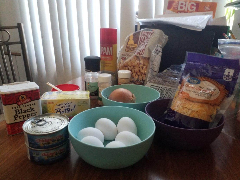 Tuna,Egg,Potato,Onion and Cheese Scramble