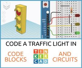 Code a Traffic Light in Tinkercad Codeblocks & Circuits