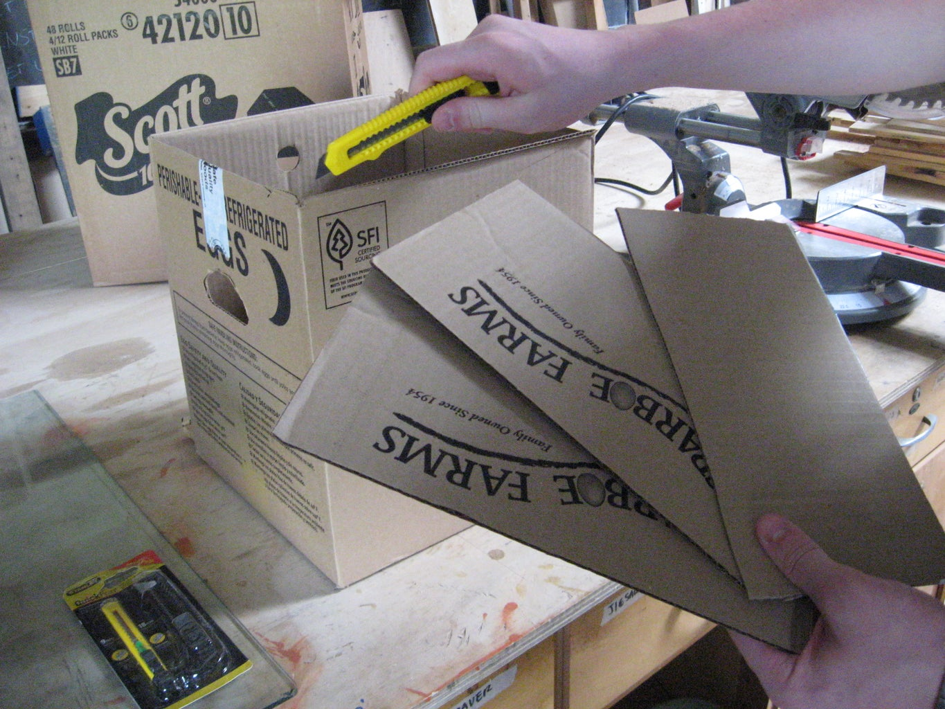 Cutting Off Flaps of Smaller Box