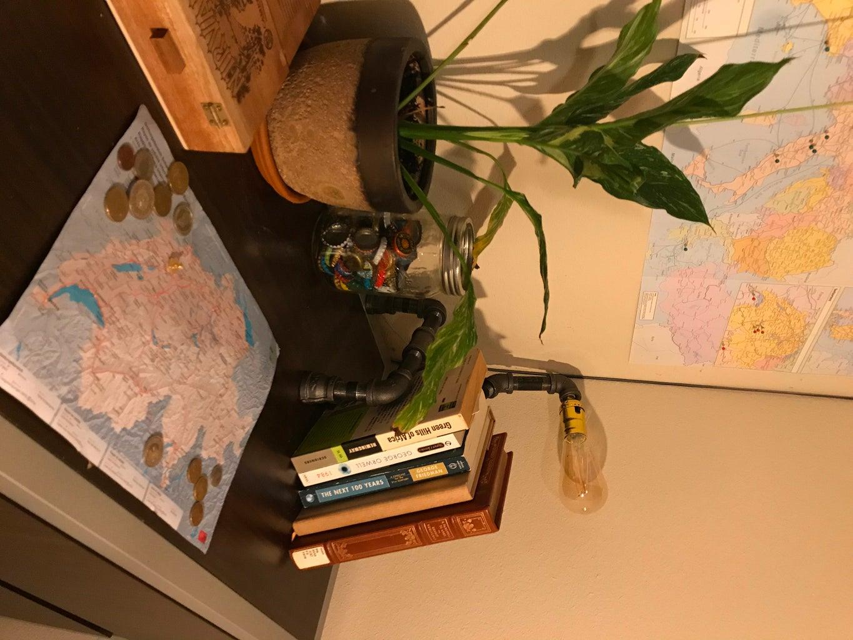 Bookshelf Pipe Lamp