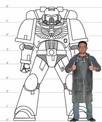 3d printed KIT life sized  warhammer 40k space marine power axe space marine