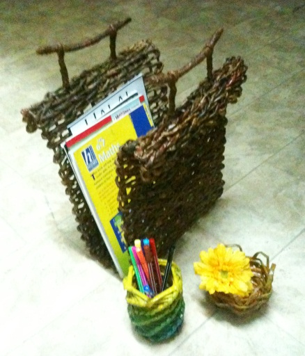 Newspaper Weave 2 - Rack, Rustic Basket, Pencil Holder