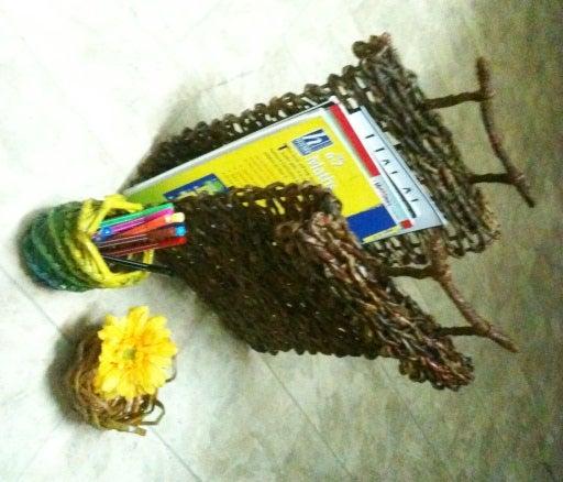 Newspaper Weave 2 - Rack, Rustic Basket, Pencil Holder