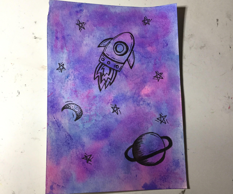 Galaxy Watercolour Made of Felt Tip Pens