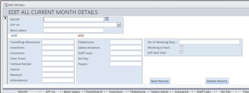 Enter Staff Details