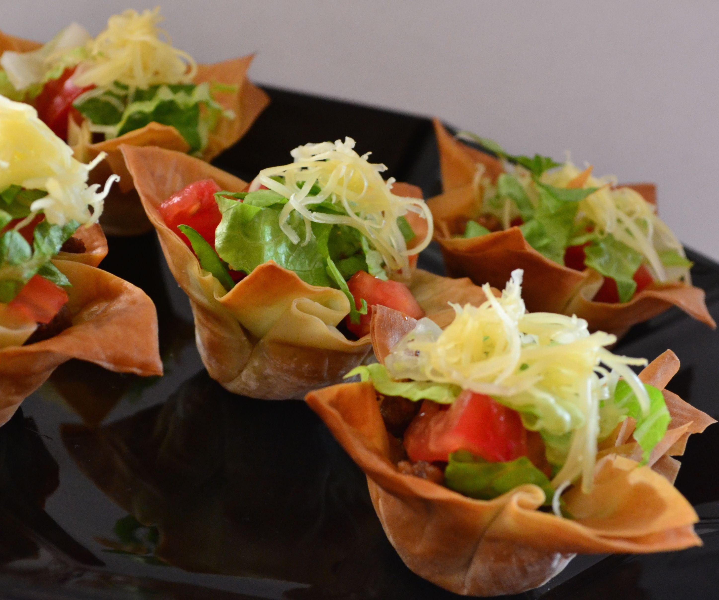 """Beef """"Tacos"""" in a Phyllo Cup"""