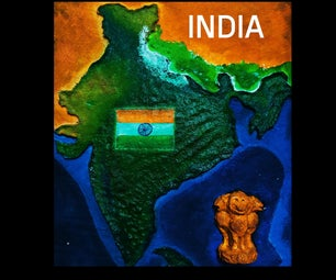Map of India With Paper Mache