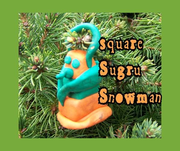 Square Sugru Snowman Christmas Ornament