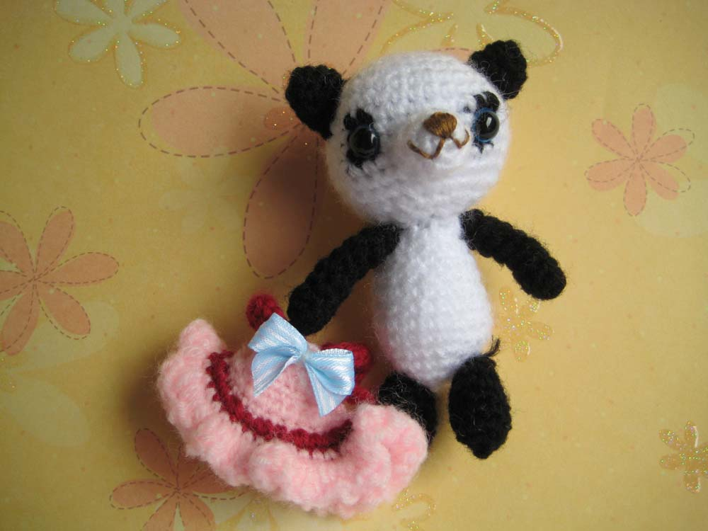 Crochet  panda Amigurumi girl with pink dress