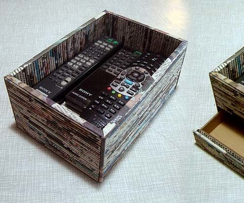 Recycled Newspaper Box With Hidden Drawer
