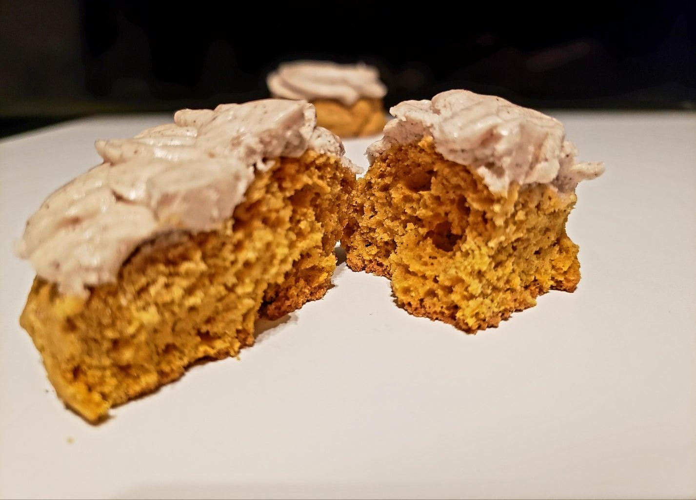Pumpkin Cake Cookies W/Spiced Cream Cheese Icing