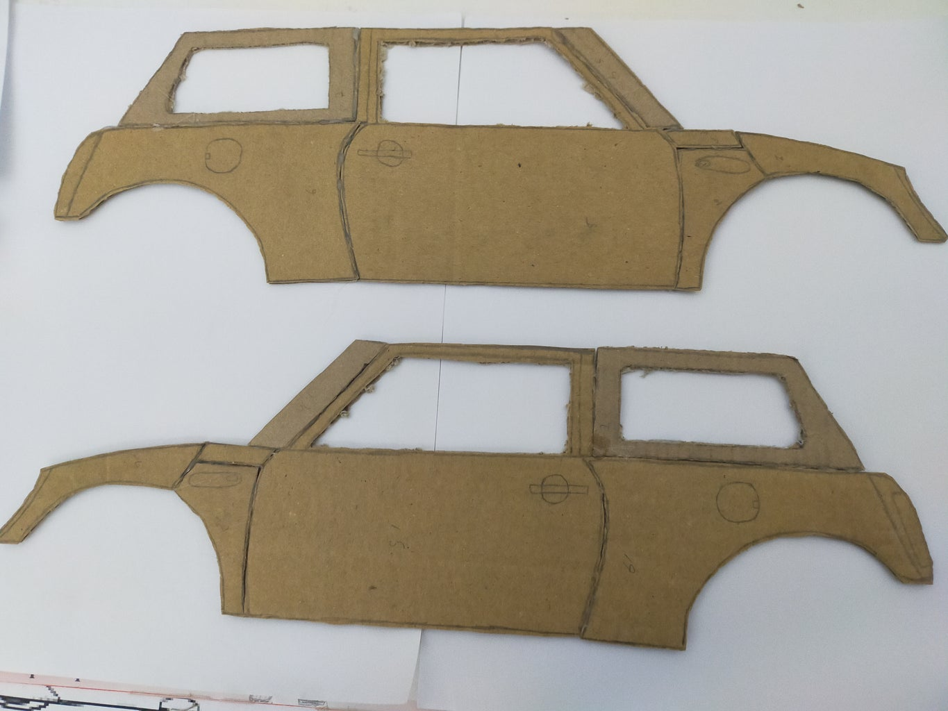 Cutting Pieces  of Left and Right Side of Mini Cooper and Assembly