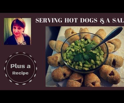 Hot Dogs and Avocado Salad As a Quick Snack: Served With a Style