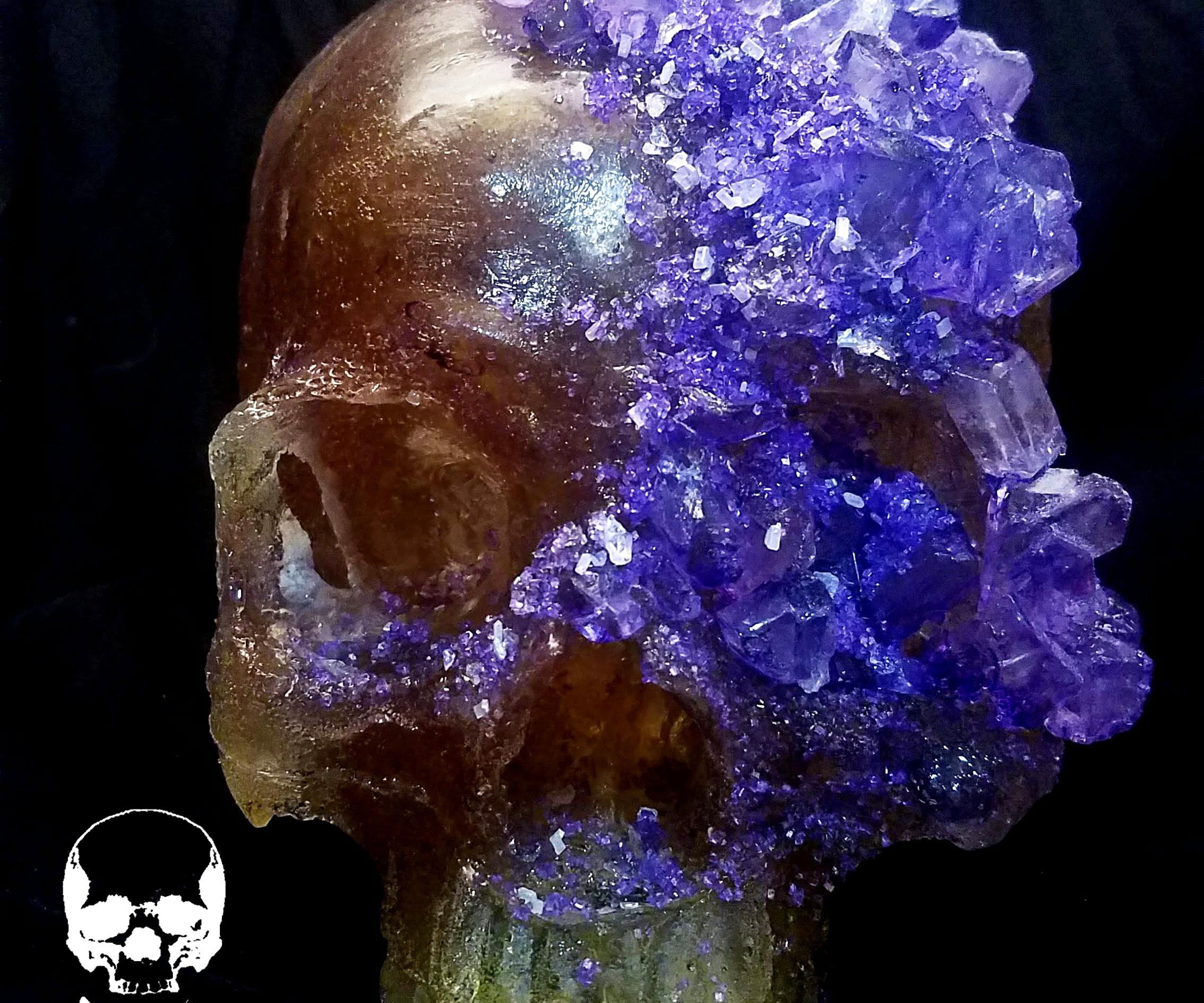 100% Edible Life Sized Violet Crystal Encrusted Sugar Skull