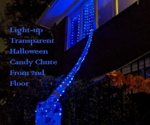 Transparent Halloween Candy Chute From 2nd Floor: Lights-Up and Spins Candy at the End!