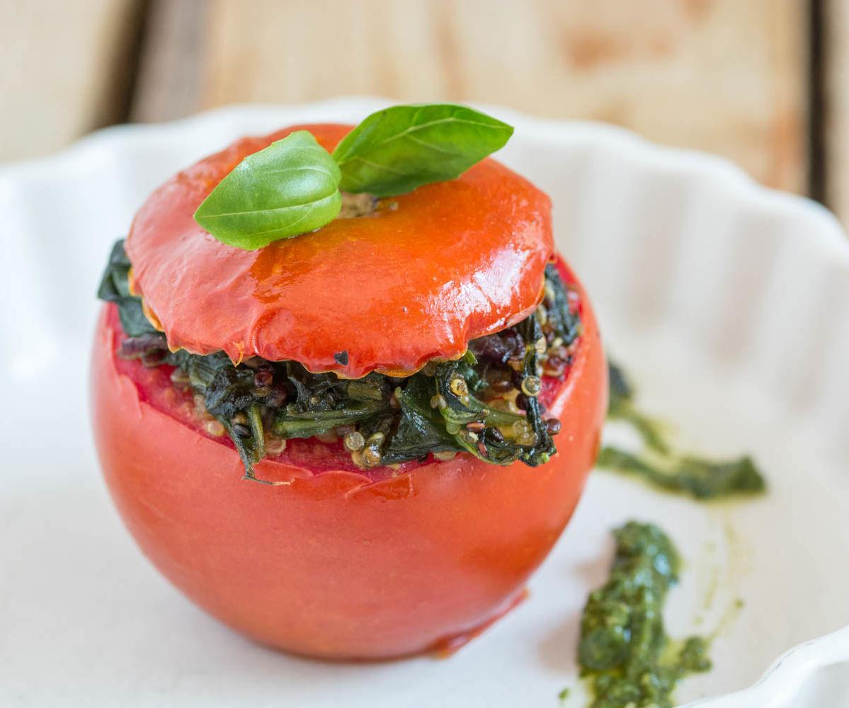 Quinoa Stuffed Tomatoes With Homemade Vegan Basil Pesto