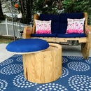 Upcycled Cable Spool Ottoman with Storage