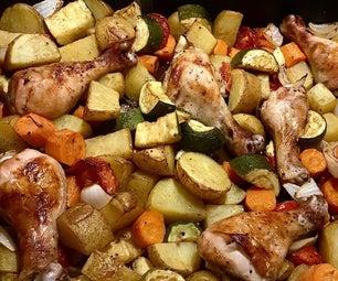 香醋鸡肉和蔬菜一顿饭