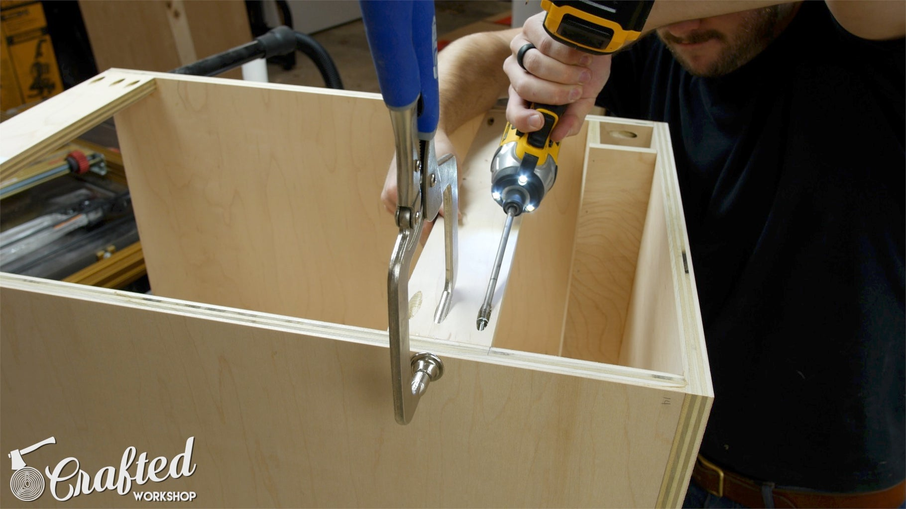 Cut Holes Needed in Cabinet Legs & Assemble Cabinet Carcasses