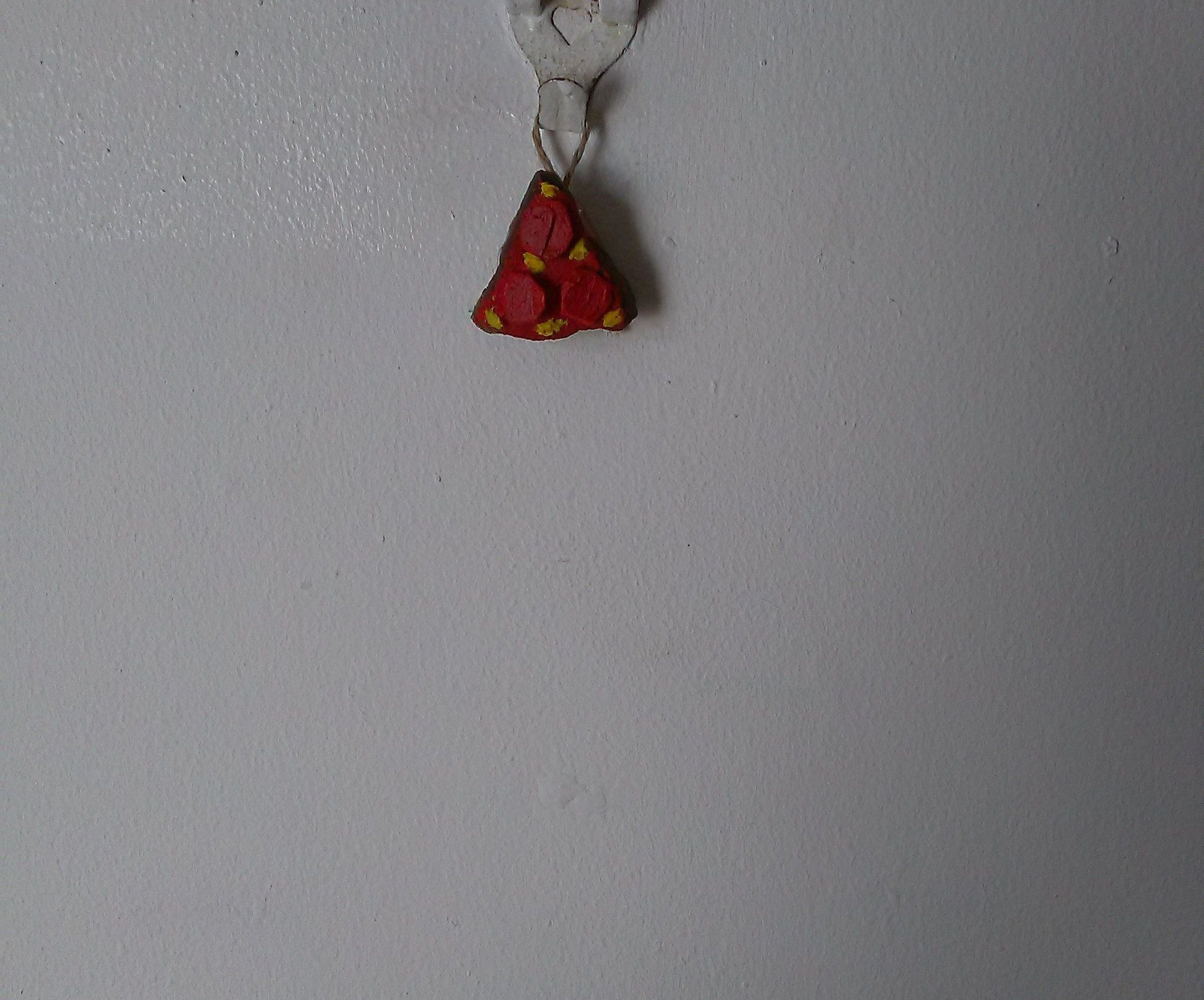 Cute Tiny Hanging Pizza Rock| Hand Painted