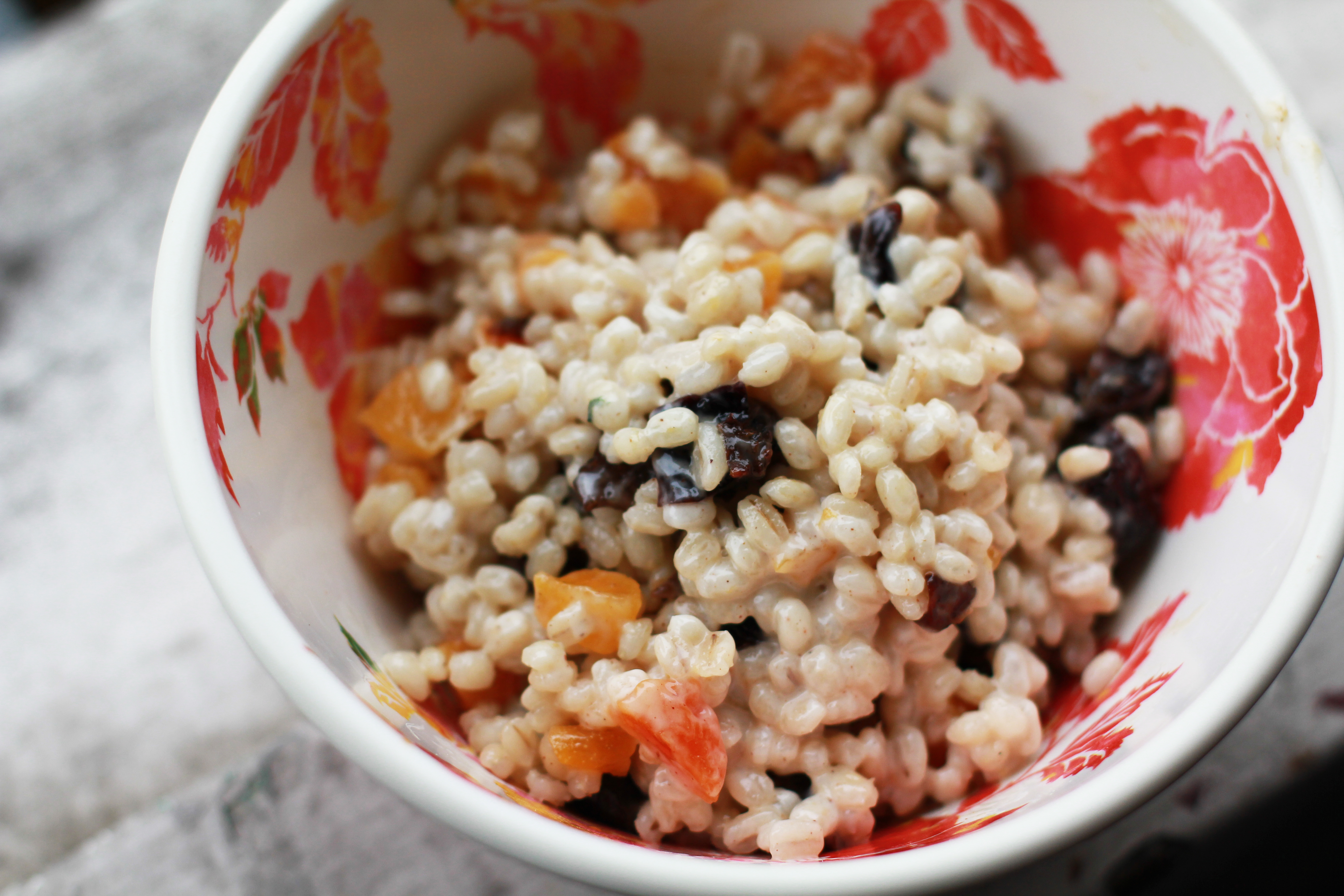 Barley Oatmeal with Apricots and Prunes