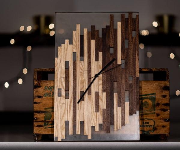 Epoxy, Walnut, and Ash Mosaic Wall Clock