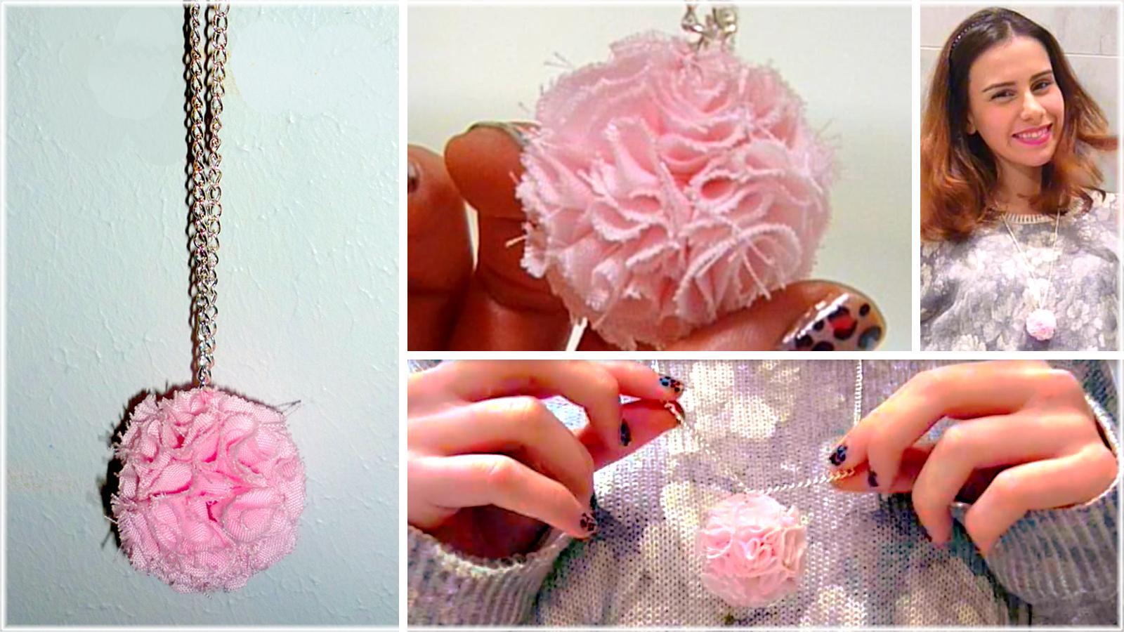 DIY pom-pom necklace!! Ideas for Valentine's day