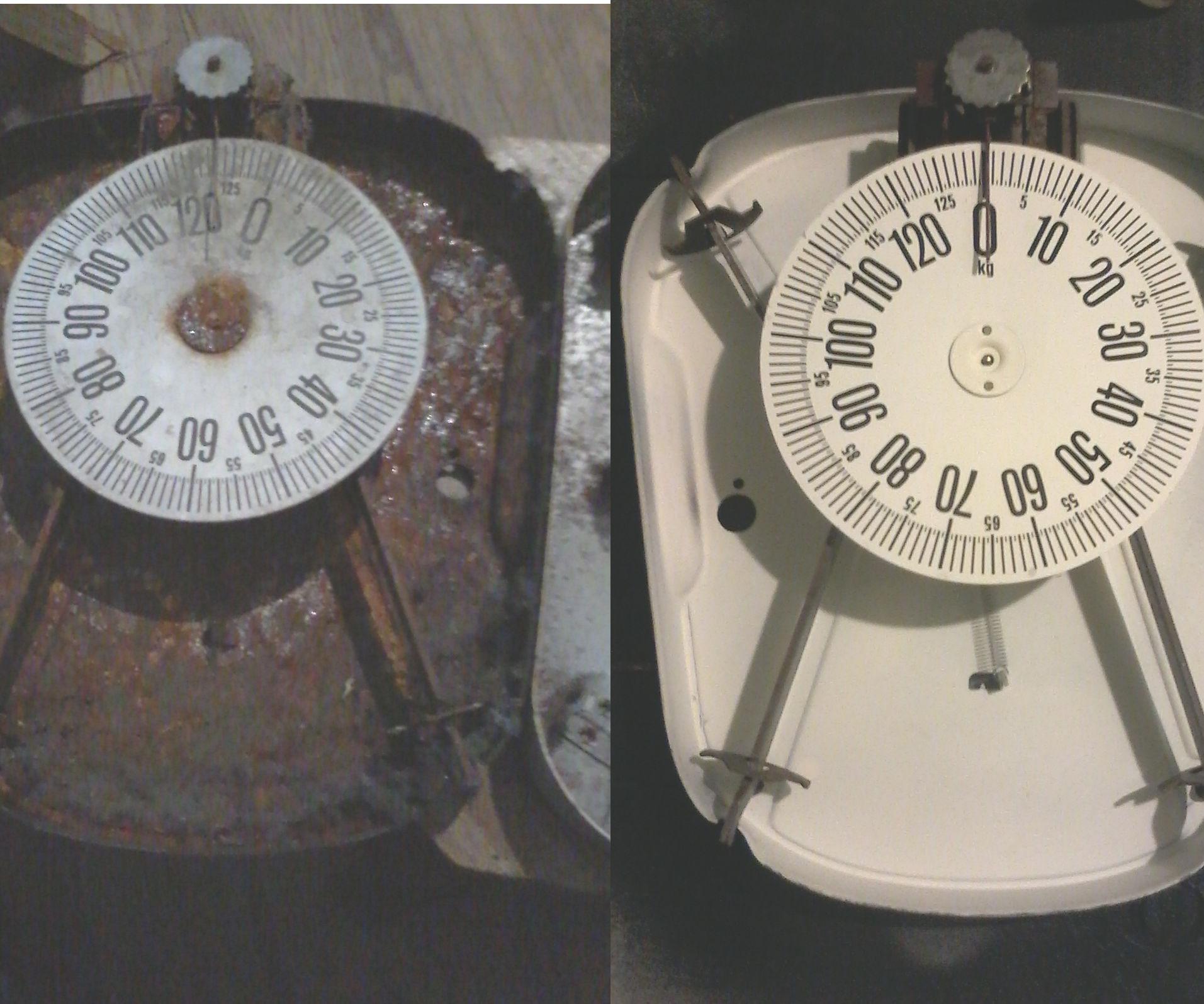 Restoring an analog bathroom scale.