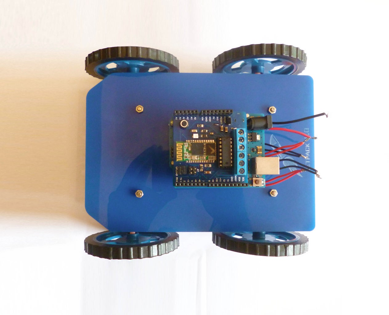 Mount Your Arduino and the Jetpack Shield, Connect the Wires
