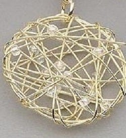 Wire Wrapped Circle Pendant With Pearls and Beads