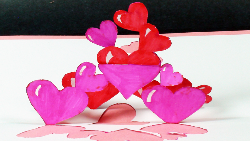 How to make a Tangled Hearts Pop Up Card (Kirigami 3D) Valentines Day Greeting Card!